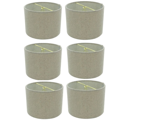 Upgradelights 5 Inch Retro Barrel Drum Clip on Chandelier Lampshade (Set of 6) (Beige)