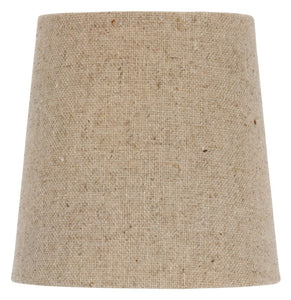 UpgradeLights Chandelier Lamp Shade Clip on Shade 5 Inch Beige Linen Retro Drum Clips Onto Bulb