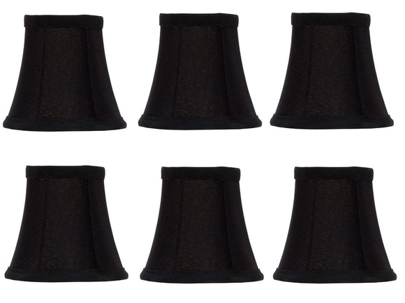 UpgradeLights Black Silk with Gold Interior 4 Inch Flared Bell Clip On Chandelier Lampshades (Set of 6)