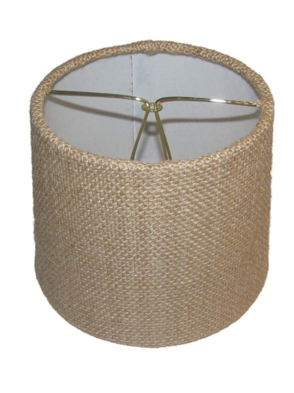 Upgrade Lights Chandelier Shade in Burlap Fabric with a Six Inch Barrel Drum