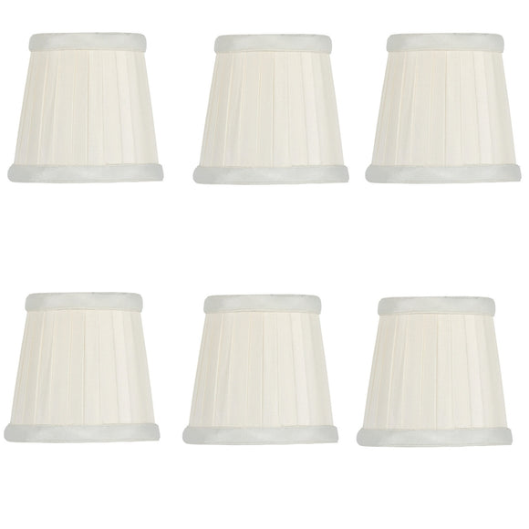 UpgradeLights Eggshell Pleated Silk 3.5 Inch Drum Chandelier Lamp Shades (Set of 6)