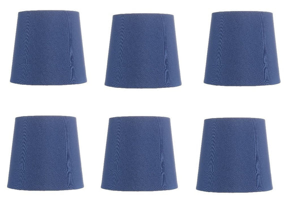 Upgradelights Five Inch Clip on Chandelier Lampshades in China Blue (Set of 6)