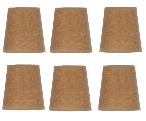 UpgradeLights Beige Oiled Parchment 4 Inch Barrel Drum Clip On Chandelier Shades (Set of 6)