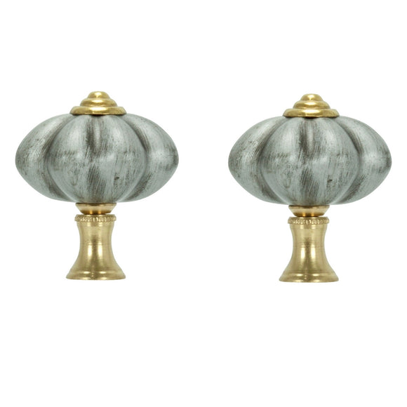 Pair of Brushed Nickel FInials and Chain Pull With Gold