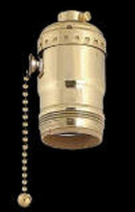 UpgradeLights Pull Chain and Uno Lamp Electrical Socket in Brass Uno Socket