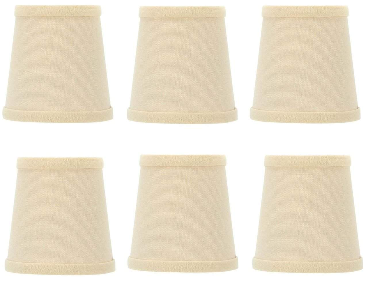 Upgradelights Beige Linen 4 Inch Barrel Drum Clip On Chandelier Shades Set Of 6