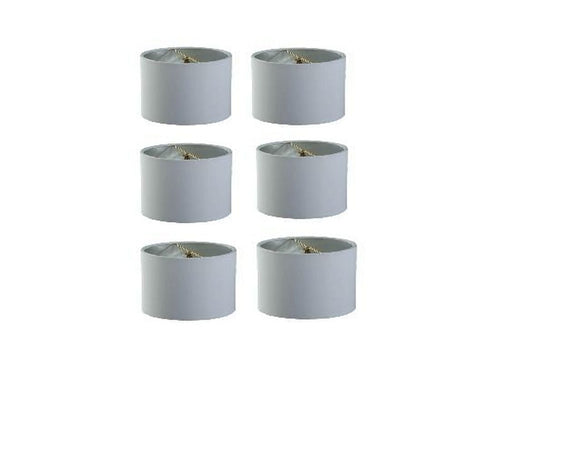 Upgradelights 5 Inch Retro Barrel Drum Clip on Chandelier Lampshade (Set of 6) (White Linen)