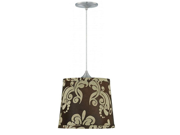 Upgradelights Brushed Nickel 8 Feet Pendant Kit with 9 Inch Lamp Shade