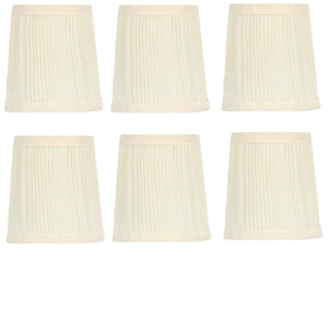 UpgradeLights Pleated Eggshell 4 Inch Retro Drum Chandelier Lamp Shades (Set of 6)