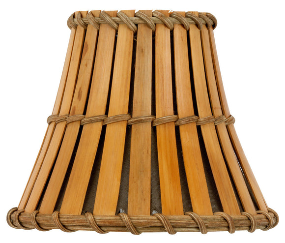 UpgradeLights All Natural Bamboo with Bronze Interior 4 Inch Flared Bell Clip On Chandelier Lampshade