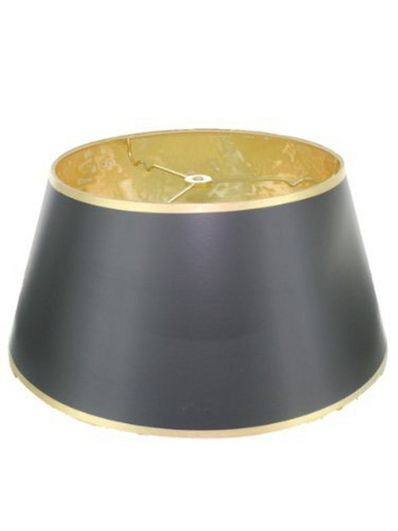 UpgradeLights Glossy Black with Gold Lining 16 Inch Bouillotte Style Lampshade Replacement