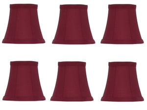 UpgradeLights Red Silk 5 Inch Empire Clip on Chandelier Lamp Shade (Set of 6)
