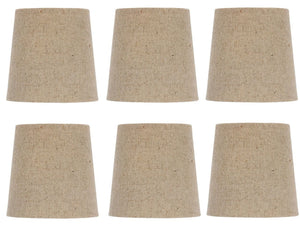 UpgradeLights Beige Burlap 5 Inch European Drum Chandelier Lamp Shades (Set of 6) with Matching Chain Cover