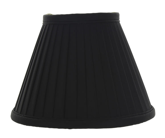 UpgradeLights Six Inch Clip On Mini Chandelier Lamp Shade in Black Pleated Silk with Gold Interior