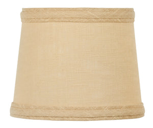 UpgradeLights 6 Inch Drum Style Chandelier Mini Lamp Shade Clip on Beige Linen