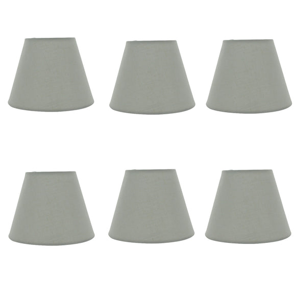 Set of 6 White English Barrel 6 Inch Linen Chandelier Shades