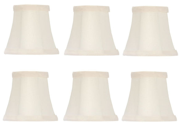 UpgradeLights Chandelier Lamp Shades Clip on 4 Inch White Silk Set of Six Clips Onto Bulb (#UI18)