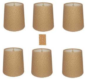 UpgradeLights Natural Cork 5 Inch Retro Drum Chandelier Lamp Shades (Set of 6)