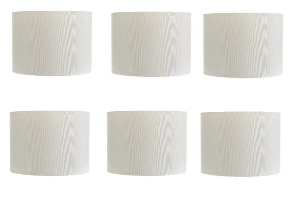 Upgradelights White Silk 5 Inch Retro Barrel Drum Clip On Chandelier Lampshades (Set of 6)