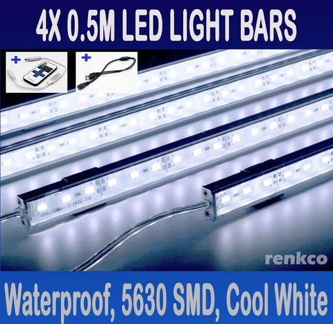 4x 0.5 Metre 12V Waterproof Cool White 5630 Led Strip Lights Bars For Car Camping Boat +RF Remote