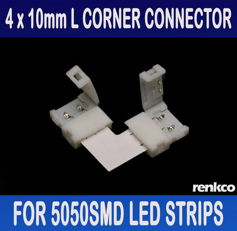 RenkCo 4 Sets of 10mm LED Strip L Shape Corner Connector Set For 5050 SMD LED Strips