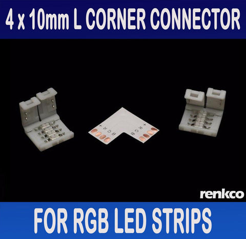 RenkCo 4 Sets of 10mm LED Strip L Shape Corner Connector Set For RGB LED Strips