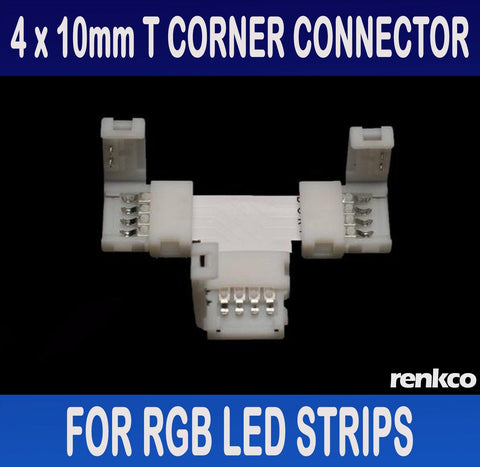 RenkCo 4 Sets of 10mm LED Strip T Shape Corner Connector Set For RGB LED Strips
