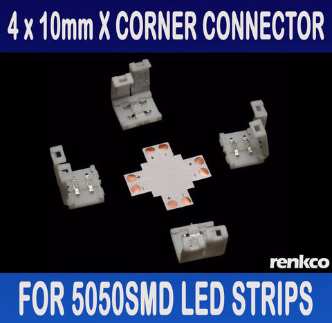 RenkCo 4 Sets of 10mm LED Strip X Shape (+) Corner Connector Set For 5050SMD LED Strips