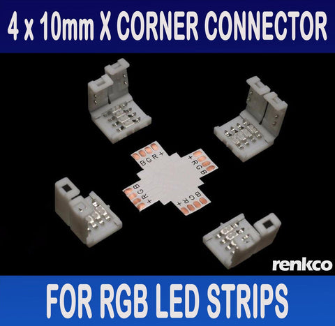 RenkCo 4 Sets of 10mm LED Strip X Shape Corner Connector Set For RGB LED Strips