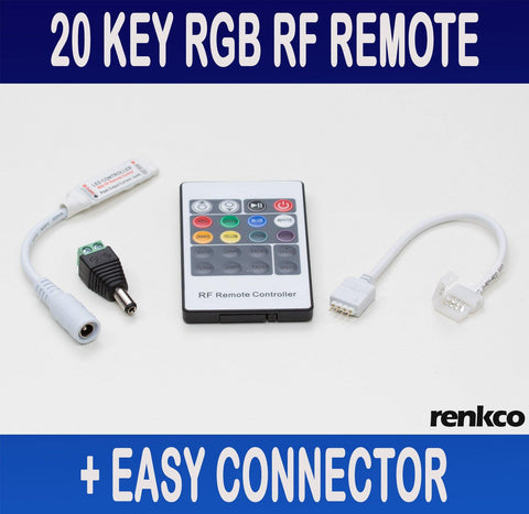 20 Key RF Remote + Controller and Connector for 3528 5050 RGB LED Strip Lights