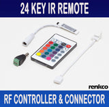 RenkCo 24 Key IR Remote, RF Controller and Connector for RGB 3528 5050 LED Light Strip