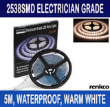 Electrician Grade 2835 SMD Warm White LED Strip Lights IP65 Waterproof 12V DC