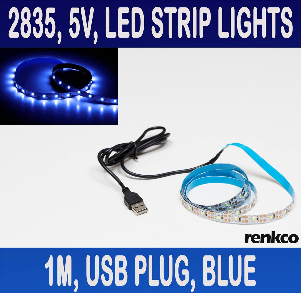 5V USB Plug, 1 Metre LED Strip Lights Blue 2835 SMD 60 LEDs IP20 Indoor