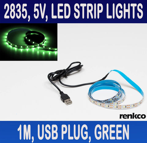 5V, 1 Metre LED Strip Lights With USB Plug Green 2835 SMD 60 LEDs IP20 Indoor