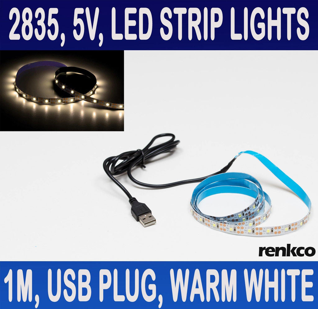 5V 1M LED Strip Lights With USB Plug Warm White 2835 SMD 60 LEDs IP20 Indoor