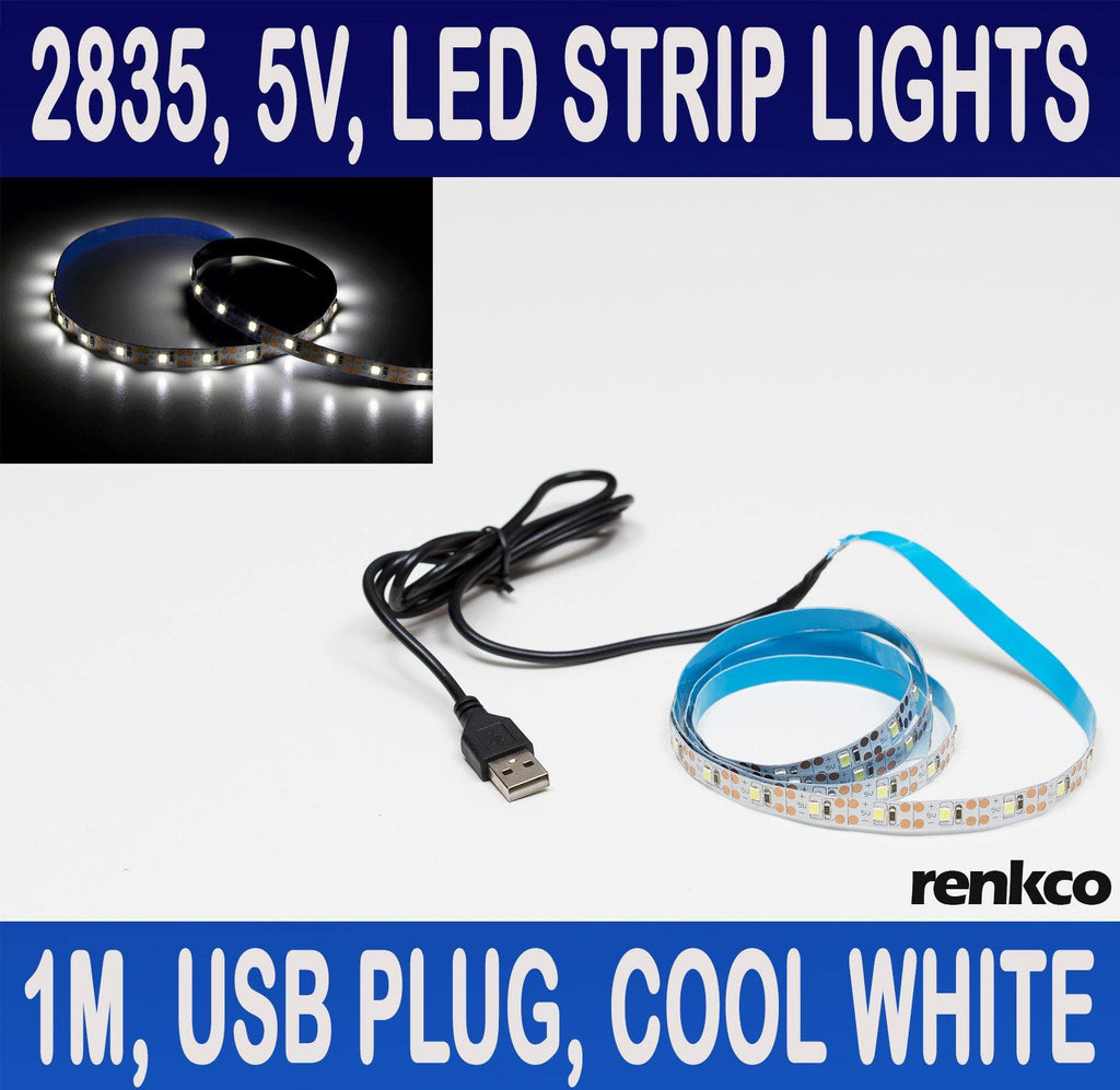 5V 1M LED Strip Lights With USB Plug Cool White 2835 SMD 60 LEDs IP20 Indoor