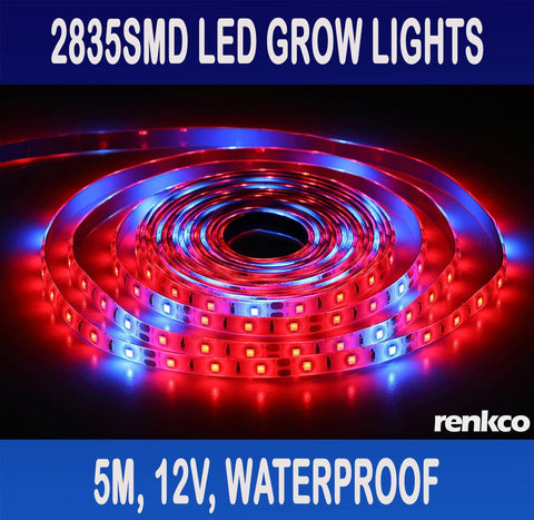 LED Strip Grow Lights Electrician Grade 2835 SMD IP65 Waterproof 12V DC 5 Metre