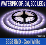 Cool White Waterproof Flexible 12V Led Strip Lights, 3528 SMD, 300 LEDs 5M Roll