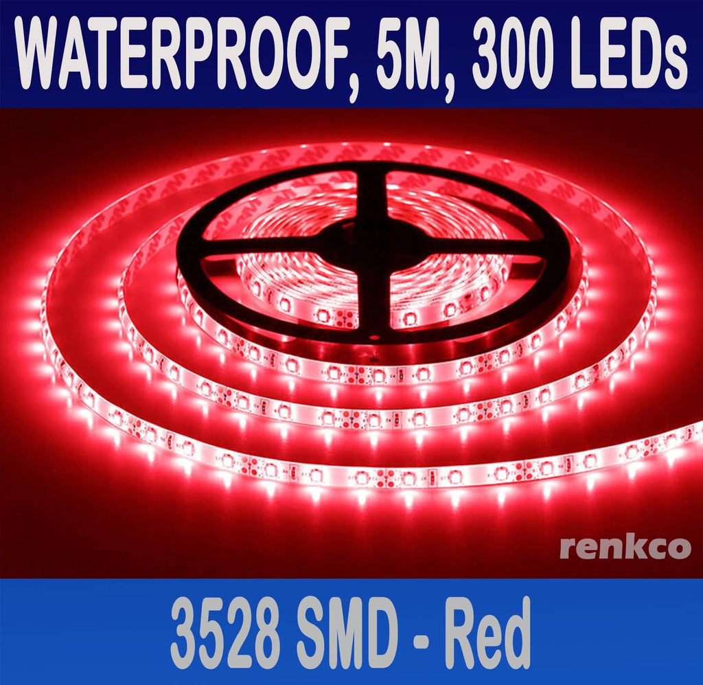 RenkCo Red Led Strip Lights 3528 SMD 300 LEDs 5M Flexible Waterproof 12V Car Boat