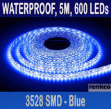 600 LEDs Bright Blue LED Strip Lights, Waterproof, 12V 5M 3528 SMD For Car Boat