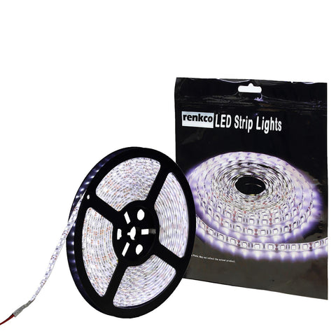 600 LEDs Waterproof Cool White Bright LED Strip Lights,12V 5M 3528 SMD