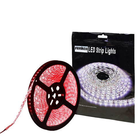 600 LEDs Red 3528 SMD LED Strip Lights 12V DC 5M For Car Caravan Boat Home Use