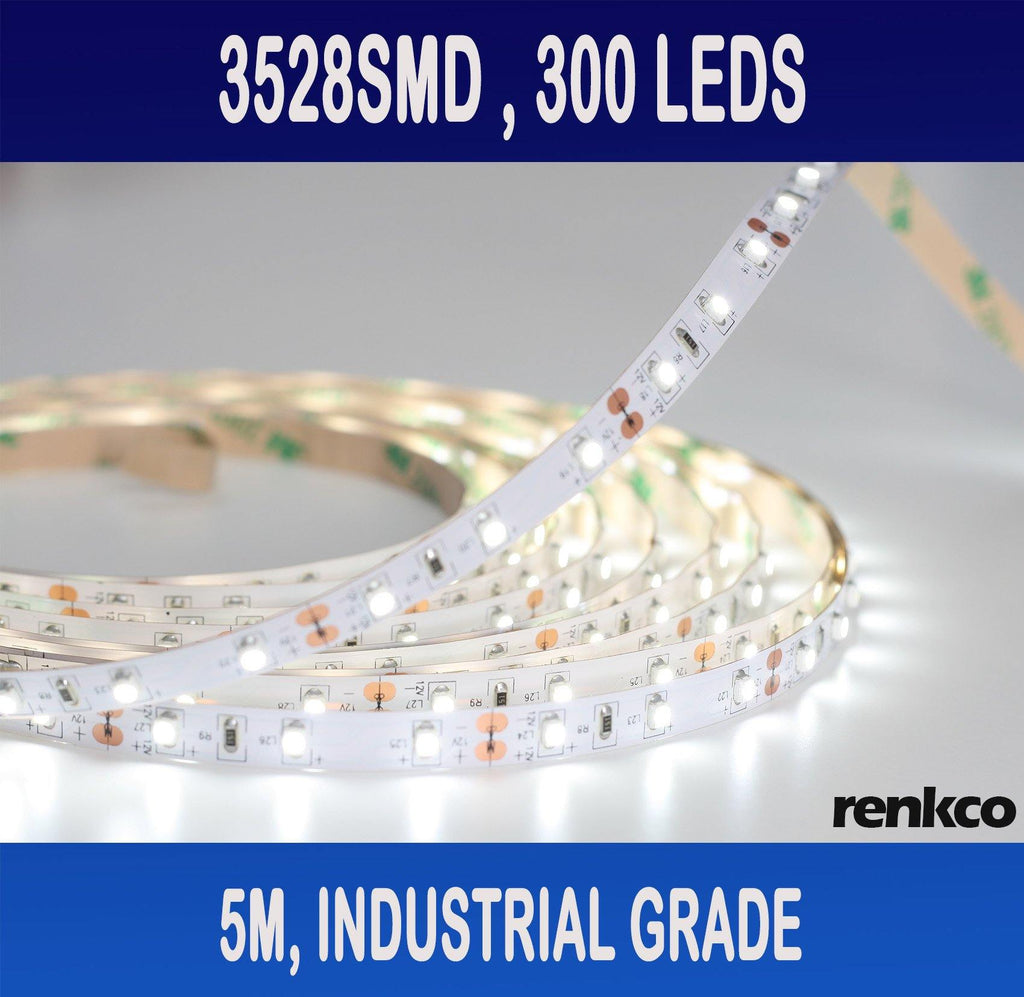 RenkCo Industrial Grade 3528 SMD Cool White LED Strip Lights IP22 Non-Waterproof