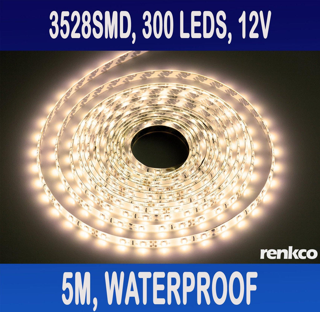 RenkCo Waterproof WARM White DC 12V 5M 3528 SMD 300 Leds LED Strips Strip Light