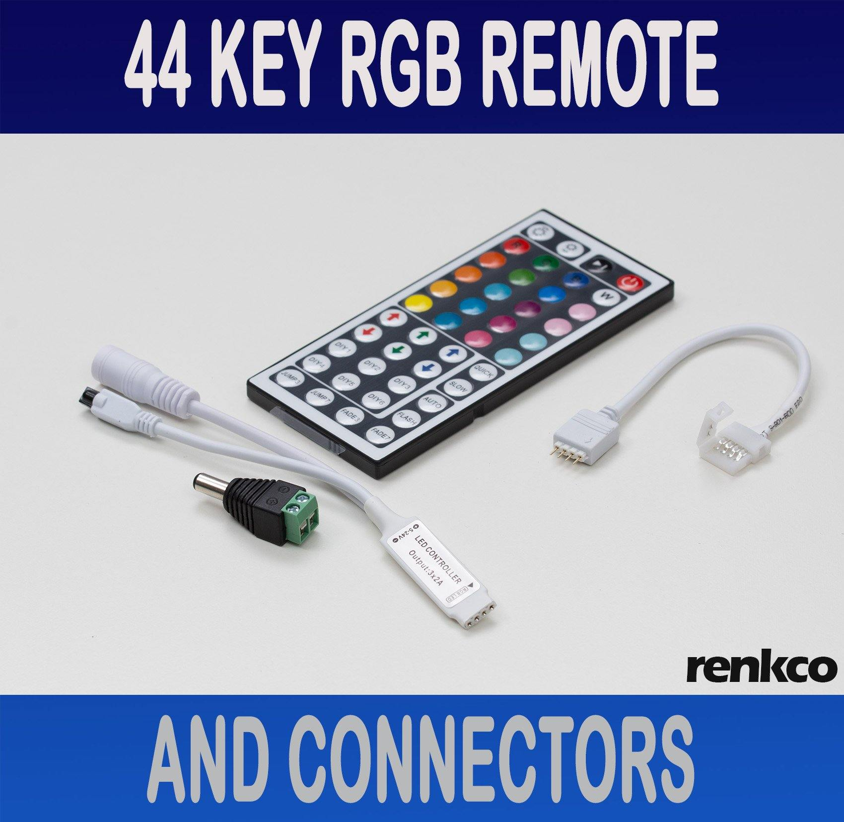 44 Key Ir Remote Rf Controller And Connector For Rgb 3528 5050 Led Pic Control Light Strip