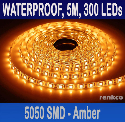 RenkCo Waterproof 12V AMBER / Yellow LED Strip Lights 5M 5050 SMD 300 Leds Light For Car Caravan