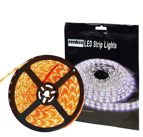 RenkCo Non-Waterproof IP20 12V AMBER / Yellow LED Strip Lights 5M 5050 SMD 300 Leds Light For Indoors