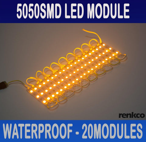 20x 12V Waterproof LED Strip Module Lights Amber For Car Boat Caravan Camping