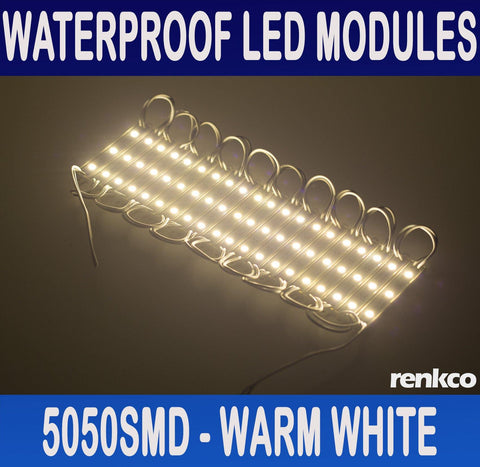 20x 12V Waterproof LED Strip Module Lights Warm White For Car Boat Caravan Camp