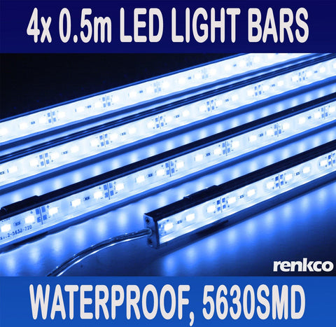 RenkCo 4X12V Waterproof Blue 5050 SMD Led Strip Lights Bars For Car Camping Boat with Male Connector